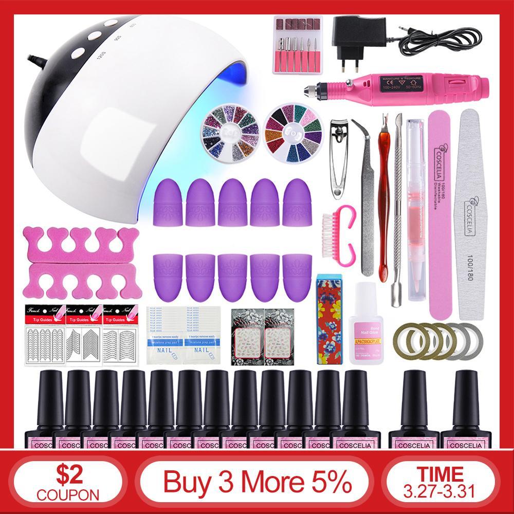 Nail Set UV LED Lamp Dryer With Choose 6/10/12 Colors Nail Gel Polish Kit Soak Off Manicure Drill Machine Kit Nail Art Tools