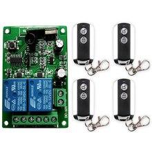 Dc12v 24v 2 ch canais 2ch sistema de interruptor controle remoto sem fio receptor & 2 chaves metal à prova dremote água remoto garagem porta/janela