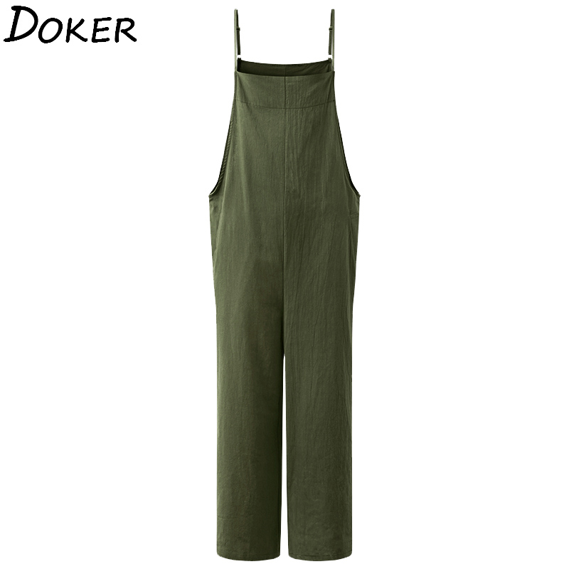 2020 Summer  Streetwear Jumpsuit Women Clothes  Plus Size Elegance Rompers Sleeveless Loose Green Long Jumpsuit Femme