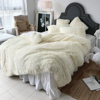 White New Long hair Fleece bedding set 4pcs/set (duvet cover+flat sheet+2 pillowcase) flannel velvet winter warm bed linen set