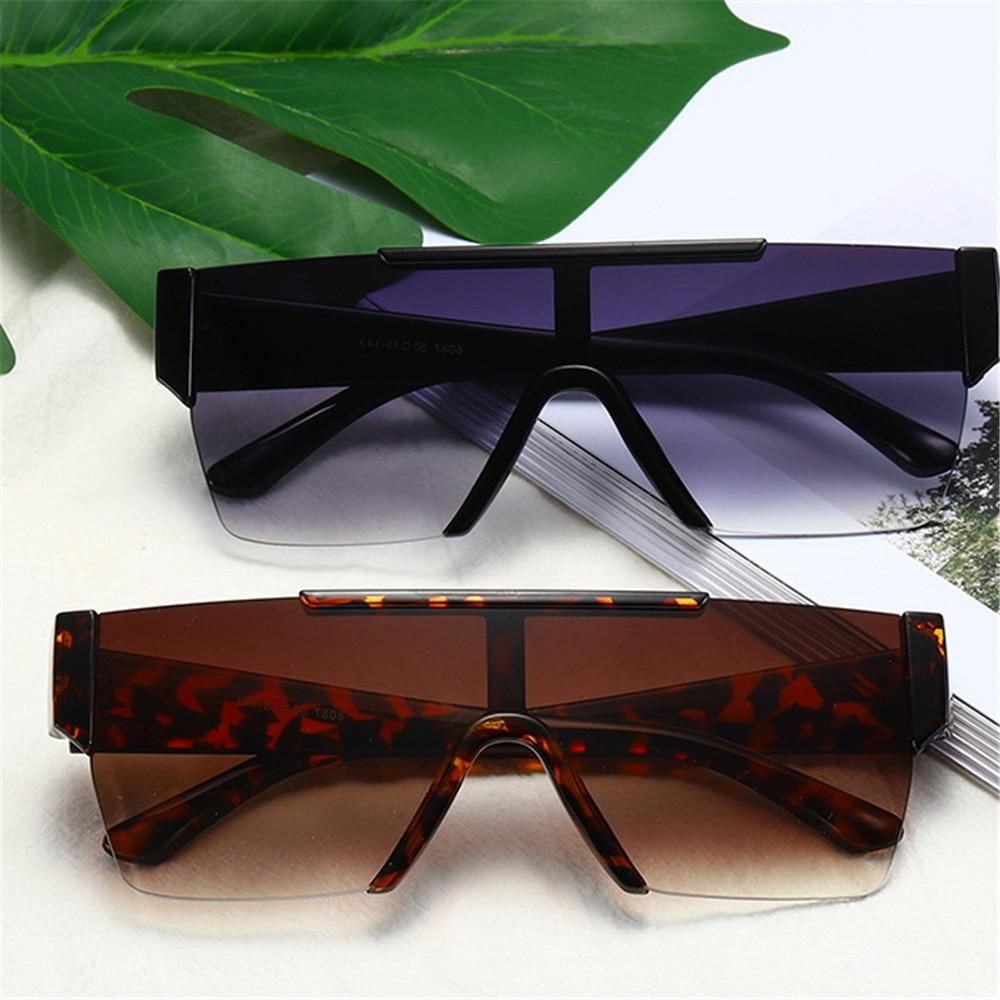 1 pièce de lunettes de soleil carrées sans monture pour femmes et hommes, surdimensionnées, verres plats, Vintage, blanc, argent, miroirs