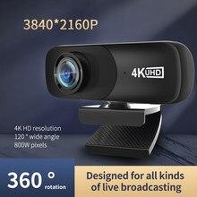 Melhor c160 2160p webcam 4k uhd 3840*2160p câmera da web 800w pixels câmera do computador 120 ° grande angular da web com microfone
