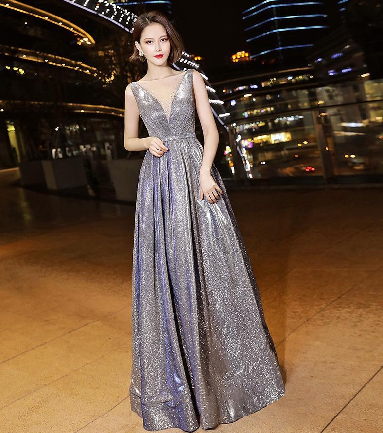 Hot Sale V-neck Cap Sleeves Glitter Material Shiny Bling Bling High Quality Silver Prom Dress With Beading  Evening Party Gowns