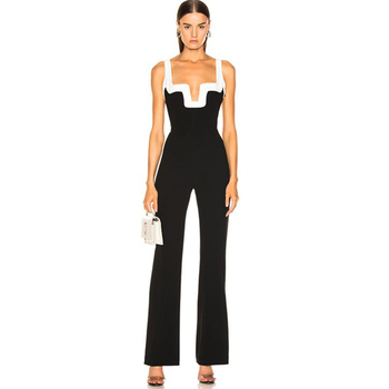 Adyce 2020 Summer Womens Fashion Bandage Jumpsuits Club Vestidos Black And White Patchwork Backless Ladies Bodycon