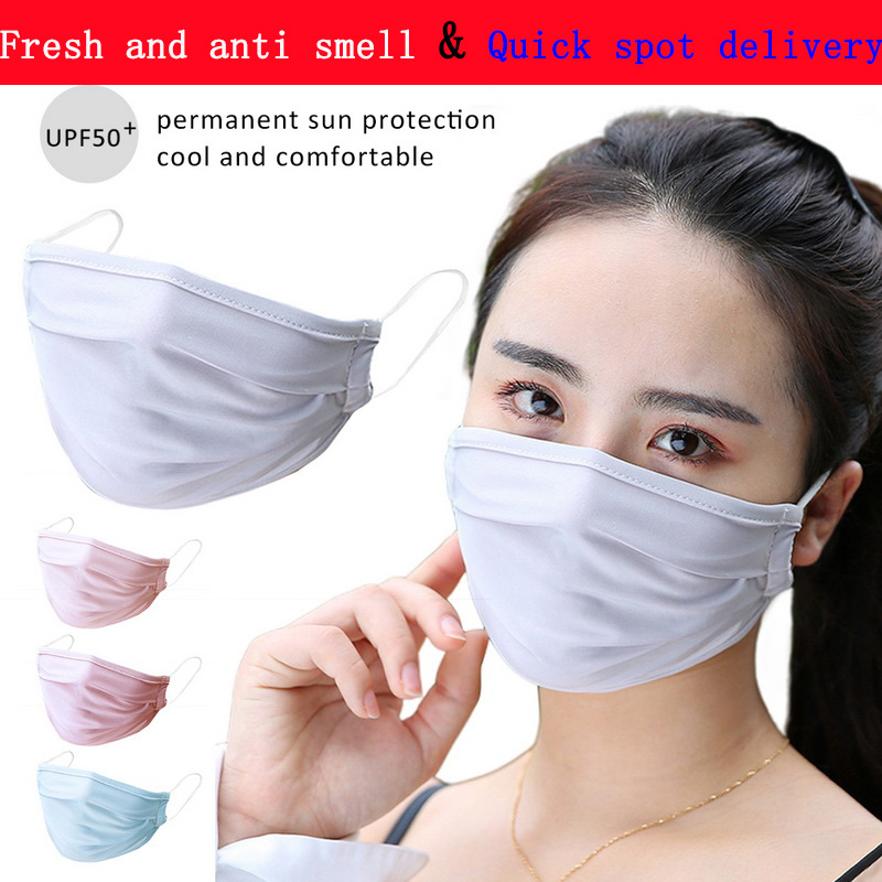 Summer Fresh And Anti Smell Dustproof Anti Virus Anti-fog Ice Silk Mouth Masks Breathable Washable Health Sunscreen Face Mask