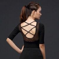 New Latin Practice Wear Women Comfort Modal Latin Tops Sexy Black Dancing Tops Ladies Dancing Dress Women Latin Outfits VDB311