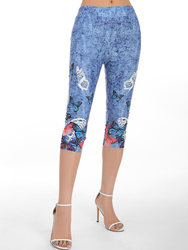 fashion Butterfly Print High Waisted Capri Skinny Crop Jeggings Denim Texture Pansy Pants Multicolor Casual Women'S Leggings2019