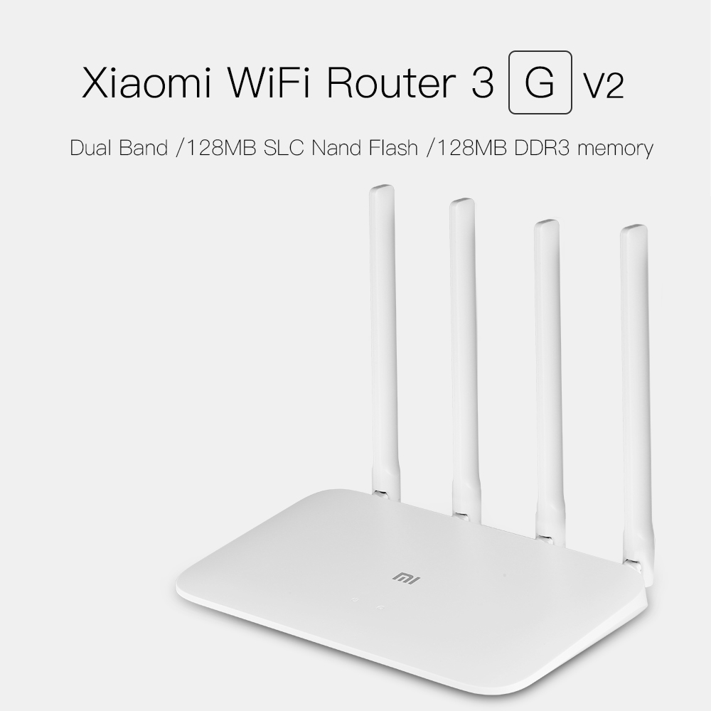 Xiaomi Wireless Router 3G V2 1167Mbps WiFi Repeater 4 Antennas Wifi Router 2.4G/5GHz Dual Band 128MB DDR3 Memory APP Control