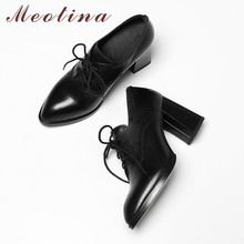 Meotina High Heels Women Pumps Natural Genuine Leather Thick High Heel Derby Shoes Cow Leather Pointed Toe Shoes Lady Size 33-43 coolcept 4 color size 33 43 sexy women high heel shoes women pointed toe thick heel pumps office lady party shoes women footwear
