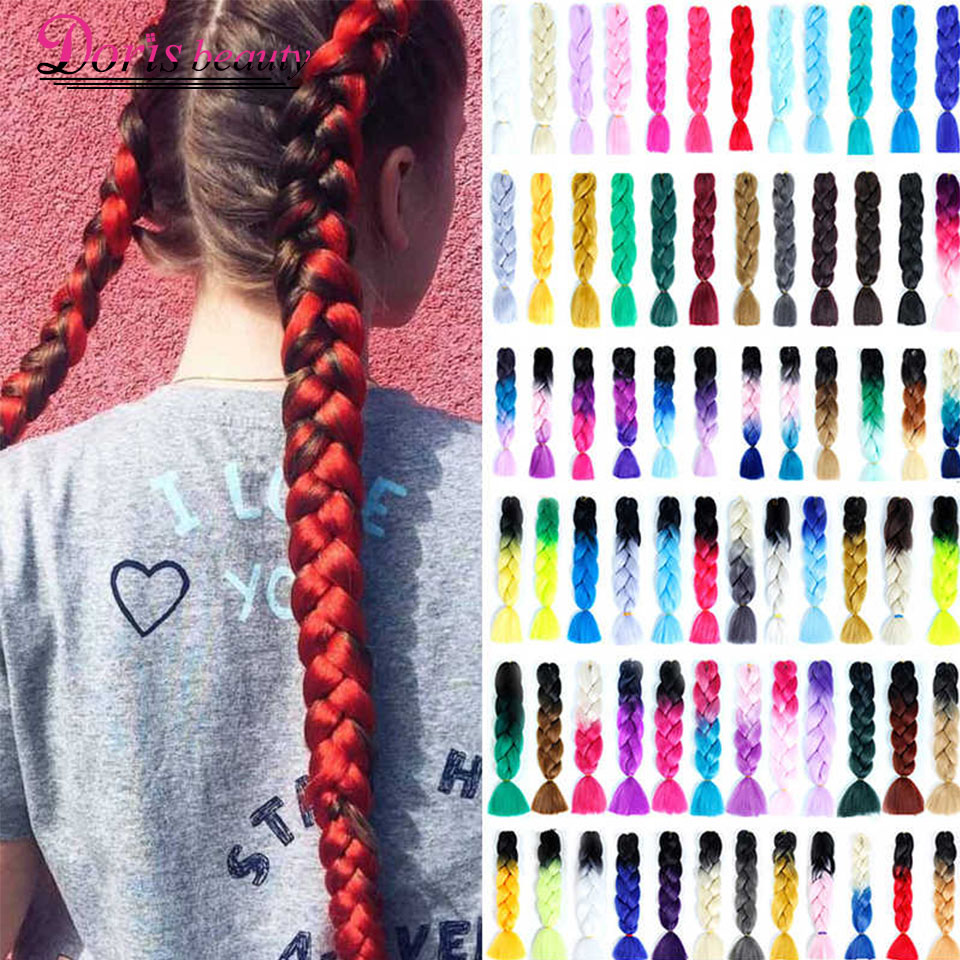 Doris Beauty 24'' 100g Ombre Synthetic Braiding Hair Extensions Crochet Braids Jumbo Braids Blonde Pink Blue Purple Color