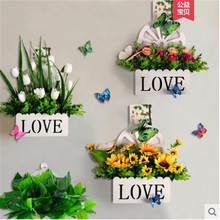 Wall simulation flower set plastic fake flower trinkets decoration home living room fence wall wall hanging flower basket european swan wall decoration wall decorative wall decoration creative wall hanging vase flower basket living room background wa