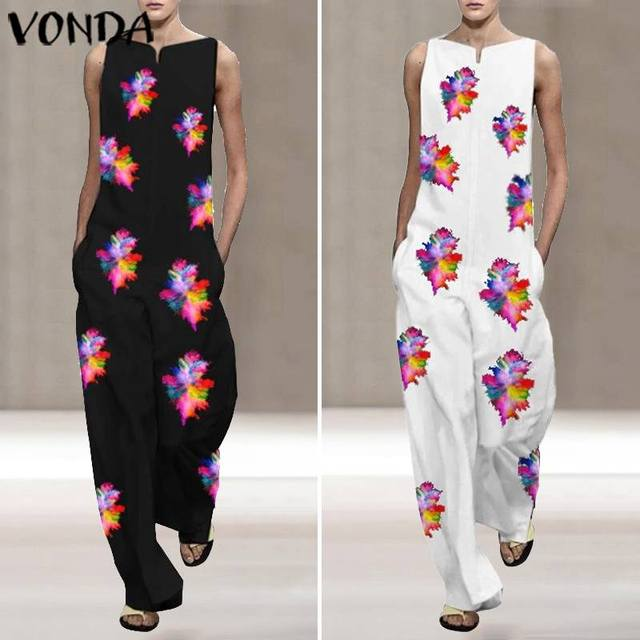 VONDA Vintage Rompers Womens Jumpsuits 2020 Ladies Casual Floral Printed Long Playsuits Bohemian Overalls S-5XL Women's Trousers 2