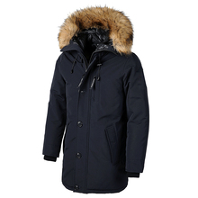 Coat Men Outwear Jacket Parkas Hooded-Pockets Faux-Fur-Collar Thick Long Cotton Brand Winter