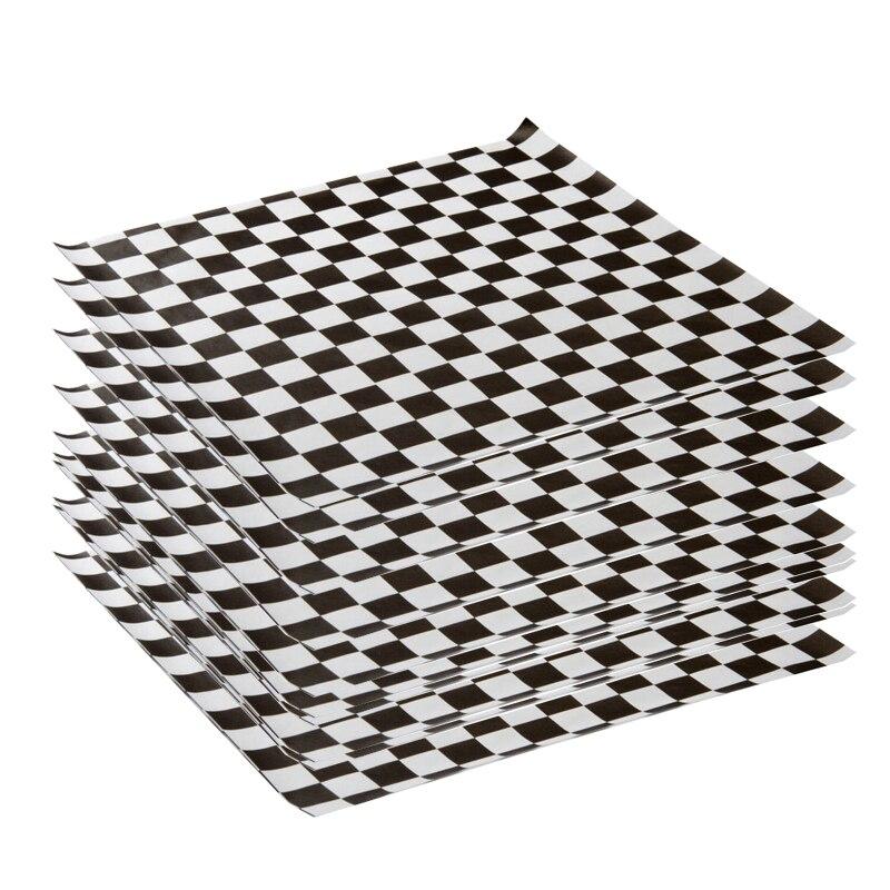 1000 pièces résistant à la graisse noir et blanc à carreaux cire papier cuisson huile papier Sandwich emballage alimentaire emballages papier ciré imprimé