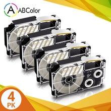 4PK XR-12XG лента для объектива с оптическими зумом CASIO XR 12XG запечатанных лент 12 мм Золотой на прозрачный ярлык принтера лента для объектива с опт...