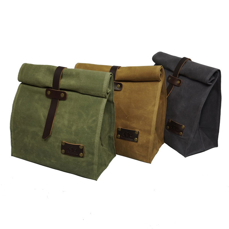 Waxed Canvas Leather Lunch Bag Plastic-Free Waterproof Lunch Box Handbag Dinner Bento Pouch For Work Or School Food Storage Bags