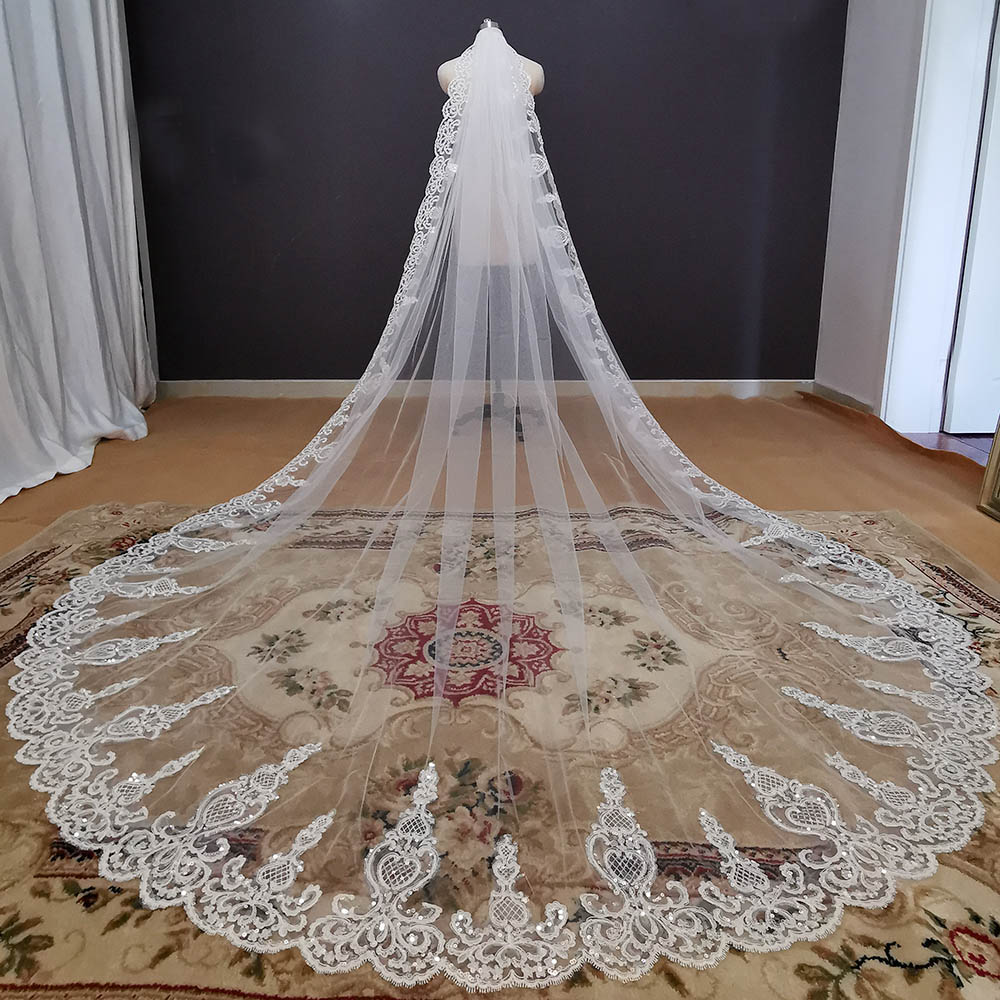 Bling Lace Long Bridal Veil Cathedral White Ivory Wedding Veil with Comb 3 Meters 1 Layer Veil Wedding Accessories