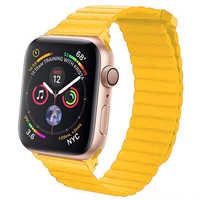 Correa de cuero 42mm 38mm para Apple watch correa 4 44mm 40mm iwatch correa 3/2/1 pulsera correa de reloj Cierre magnético correa de muñeca