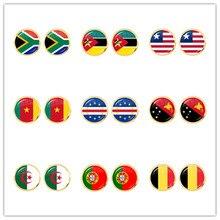 Pendientes de tuerca para mujer, bandera nacional de Sudáfrica, Marruecos, liberiana, caméon, Cabo Verde, Papúa Nueva Guinea, Argelia, Bélgica, Portugal