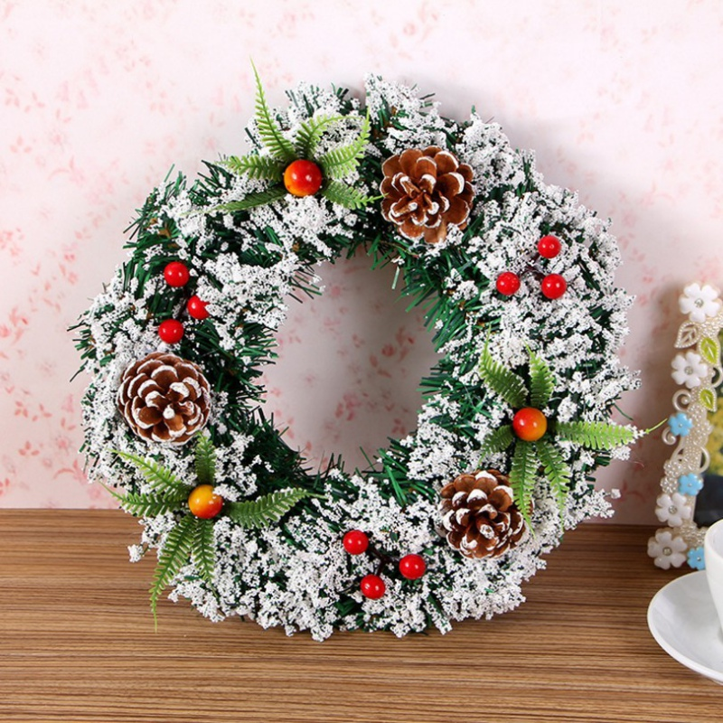 Christmas Wreath With Pine Cone Hanging Artificial Decoration For Home Household Rattan Wreath For Gifts Wall Door Farmhouse