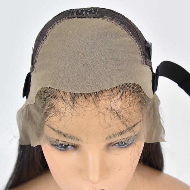 Поддельные головы Невидимый узел 13x6 кружева спереди коричневый парик отбеленные узлы предварительно сорванные прямые человеческие волосы спереди кружева длинные парики Remy 150 - 3