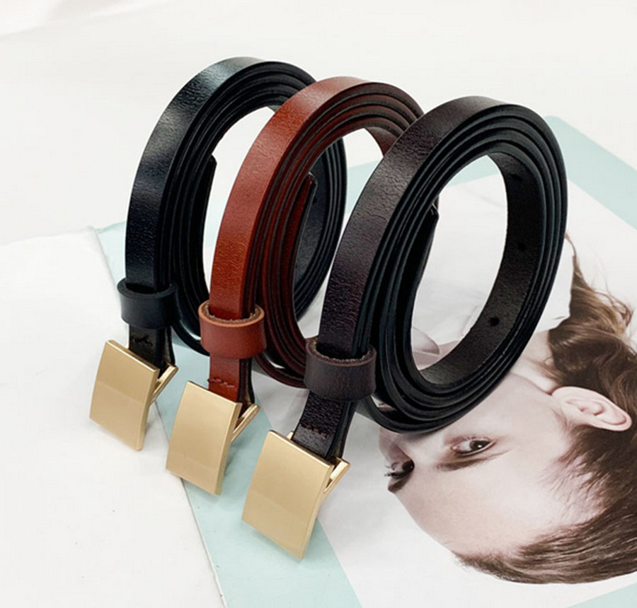 2020 Ladies New Leather Thin Belt Fashion Simple Wild Glossy Snap Button Dress Small Belt