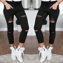 2021 New Ripped Jeans For Women Women New Ripped Trousers Stretch Pencil Pants Leggings Women Jean Casual Slim Ladies Jeans