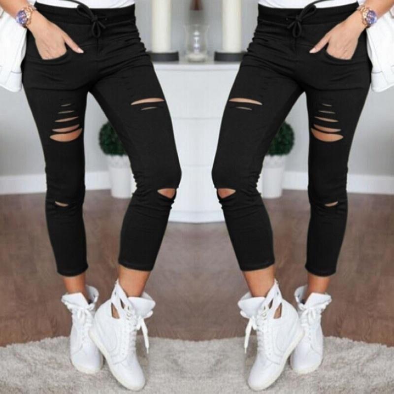 2021 novo jeans rasgado para as mulheres tamanho grande rasgado calças de lápis estiramento leggings mulheres jean casual magro senhoras jeans