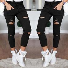 2021 nowy porwane dżinsy dla kobiet kobiety duży rozmiar spodnie a przetarciami spodnie ołówkowe ze strechu legginsy kobiety Jean na co dzień szczupła damskie dżinsy tanie tanio Poliester Kostki długości spodnie CN (pochodzenie)