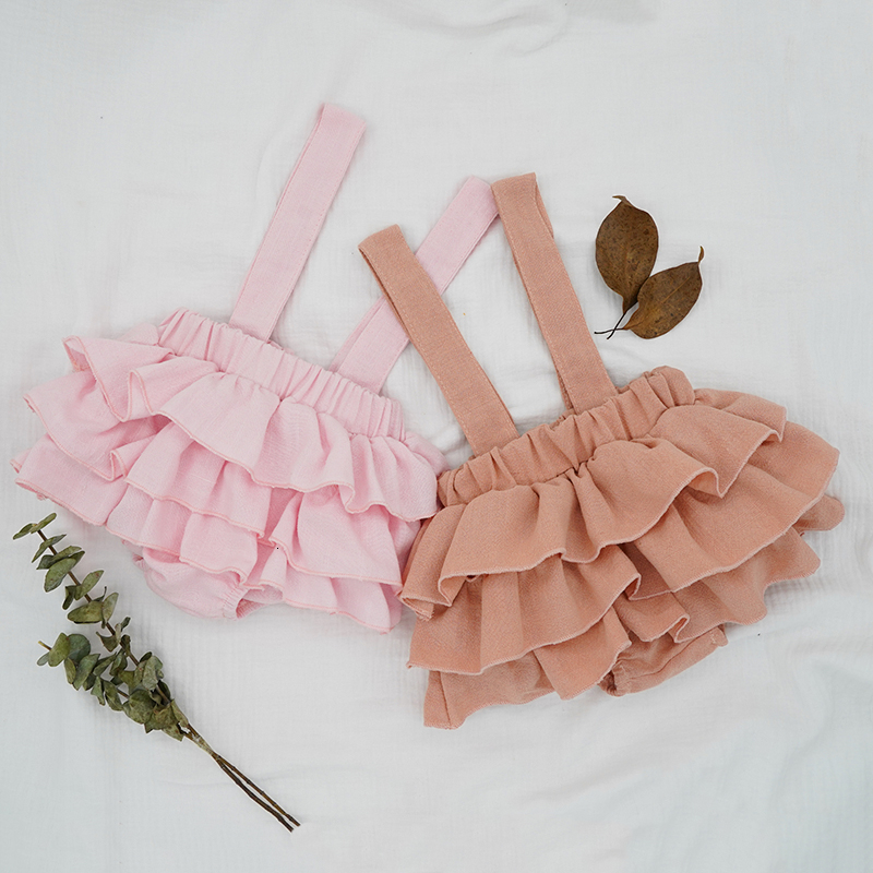 2020 New Baby Girls Linen Bloomers Shorts Fashion Toddlers Kids Pink Tutu Skirts Faldas Ruffle Straps Pants For Newborn Spodnica
