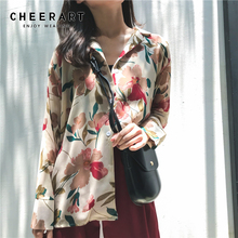 купить Cheerart Fall Chiffon Blouse Long Sleeve Floral Print Button Up Shirt Casual Tops Lapel Korean Blouse Women Clothing дешево