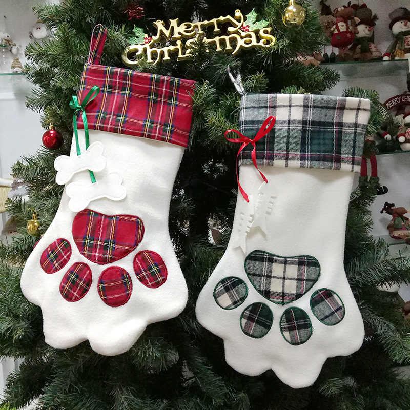 Personalize Pet Dog Cat Paw Christmas Stocking Socks Gift Bags Holder Xmas Tree Hanging Pendant New Year Decorations For Home