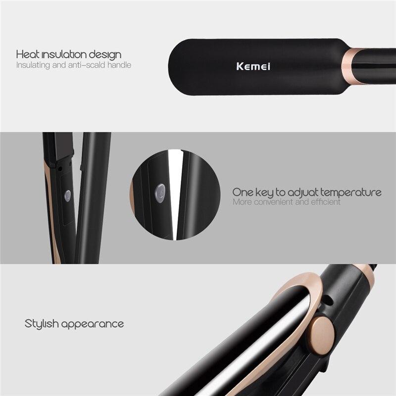 Image 5 - 2 в 1, выпрямитель для волос, профессиональные щипцы для завивки волос, инфракрасные щипцы для завивки, светодиодный дисплей, широкая пластина, плоский утюг, инструменты для укладки 45Щипцы для завивки   -