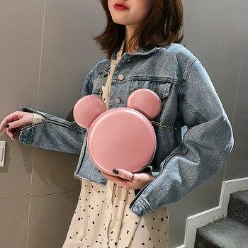 2019 delle nuove donne di modo di Mickey borsa carino divertente vestito da sera delle donne del sacchetto di frizione del raccoglitore del sacchetto di spalla della catena di compleanno regalo