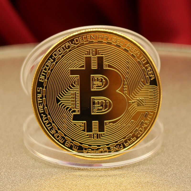 Bitcoin Commemorative Coin BIT Coin Art Collection Gold Plated Bitcoin BTC with Case Physical Metal Antique Imitation Coins 1