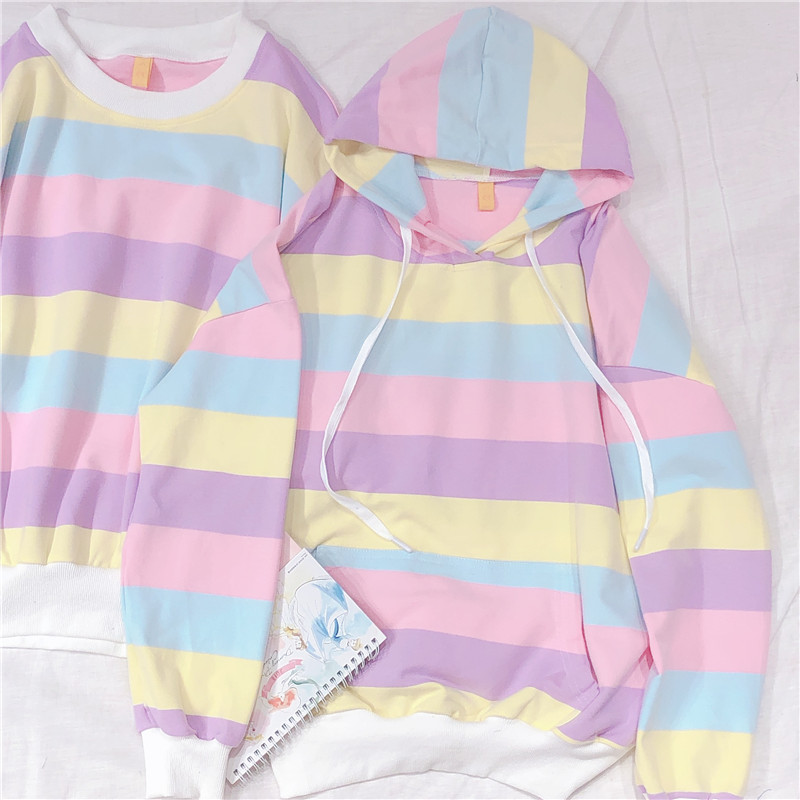 Japanese Rainbow Women Cool Hoodie Kpop Clothes Harajuku Kawaii Yellow Pink Striped Girls Sweatshirts Friends Casual Pullovers