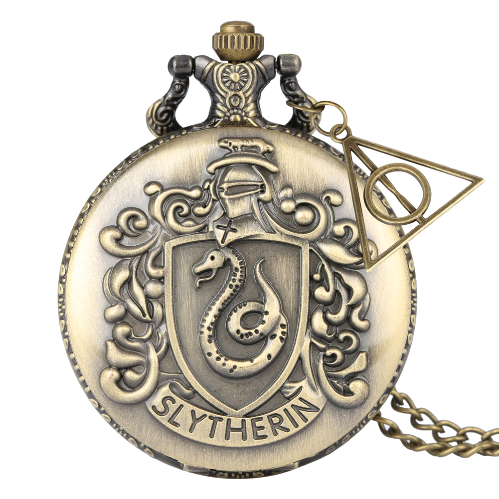 Retro Harry Hogwarts College Slytherin Theme Bronze Necklace Pendant Unique Christmas Gifts For Men Adults Reloj With Accessory
