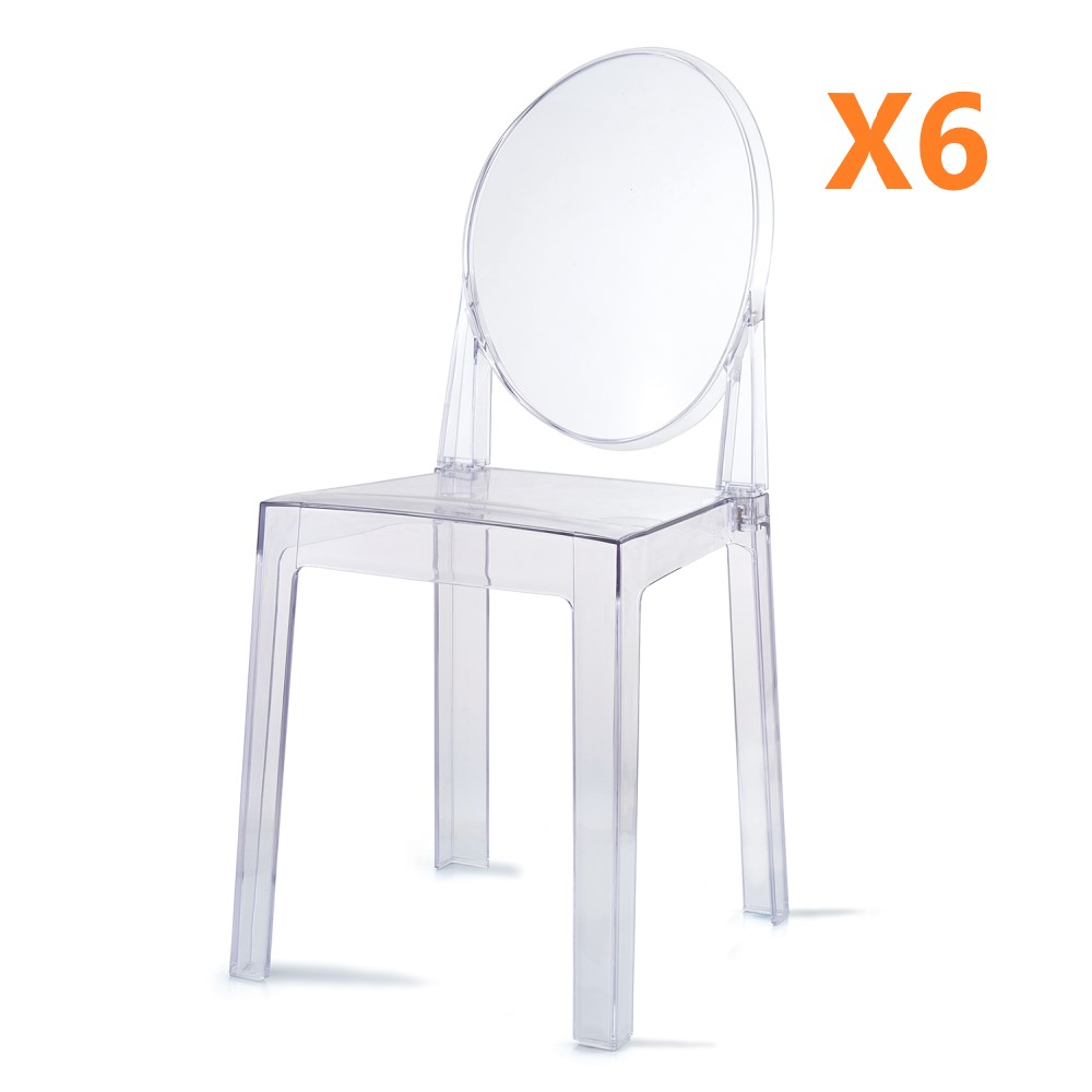 Set of 6 Dining Chairs Transparent Crystal Ghost Chair with Oval Back Modern Makeup Dressing Chair Stackable Garden Chairs Set 10