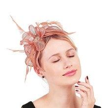 Очаровательные персиковые свадебные заколки для волос на заколках для волос sinamay церковное шоу шляпа или повязки на голову зимние вечерние королевские аскоты для невесты