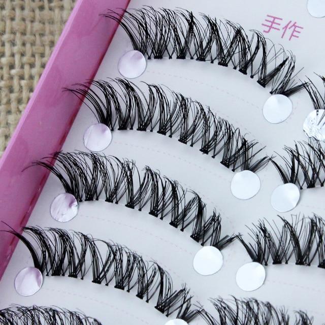 YOKPN Japanese Handmade False Eyelashes Transparent Stem Natural Nude Makeup Simulation Cross Messy Eye Tail Thick False Eyelash 2