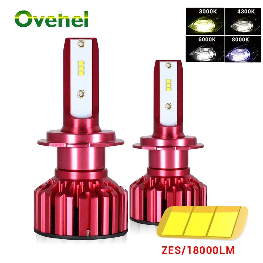 Ovehel Car Lights Bulbs 18000LM ZES H4 LED H7 HB2 H11 LED H1 H3 H8 H11 LED 9005 HB3 9006 HB4 Auto LED Headlights 12V 3000K 6000K