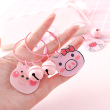 Lovely PVC Pink Pig Keychain For Women Girl Jewelry Animal Doll Bell Cute Car Key Holder Keyring Best Friend Gift Wholesale 2019 fashion dog car keychain animal couple lovely keychain car keyring gift for girl women and men jewelry anime keychain