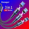 Магнитный кабель Essager 3в1 для быстрой зарядки iPhone Xiaomi  магнитное зарядное устройство  USB Micro зарядный кабель type C  шнур для мобильного телефона