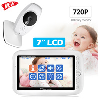7 inch Baby Monitor Wireless Color Screen Two way Audio Baby Camera Temperature Detection Nanny Security Camera Night Vision
