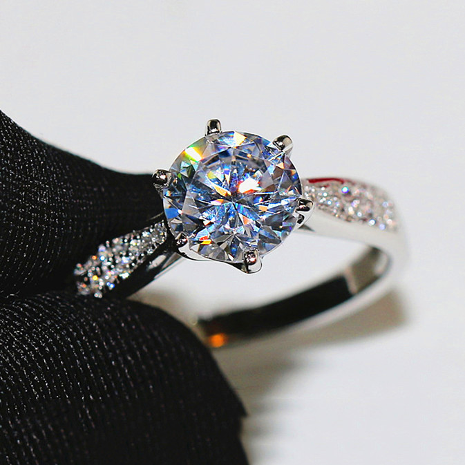 Luxury Female Big Round Lad Diamond Ring 100% Real 925 Sterling Silver Engagement Ring Vintage Solitaire Wedding Rings For Women