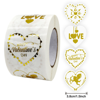 500Pcs/roll I Love You Wedding Party Decor Stickers Valentine's Day Gift Heart Seal Labels 1Inch=2.5cm Chocolate Box Decor Tag image