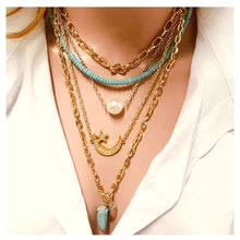 цена на TOTABC Popular Hip-Hop Multilayer Hang Pearl Necklace Atmospheric Metal Accessories Chain Necklace Jewelry  For Women