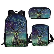 HaoYun 3PCs Set Kids School Backpack Fantasy Arts Deer Pattern Book Bags Cute Animal Fashion Backpack/Flaps Bag/Pen