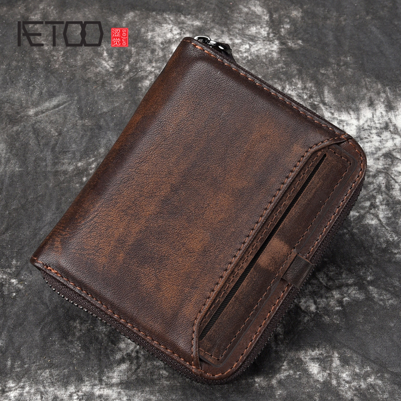 AETOO Wallet Man Short Head Layer Cowhide Money Clip Men's Retro Wallet Vertical Zipper Casual Youth Small Wallet