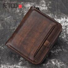 Aetoo財布男短尺ヘッド層牛革マネークリップ男性のレトロ財布垂直ジッパーカジュアルな若者小さな財布